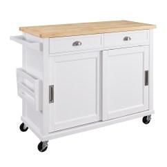 Kitchen Carts Wooden Set Islands With Free Shipping Kmart Linon Sherman Cart