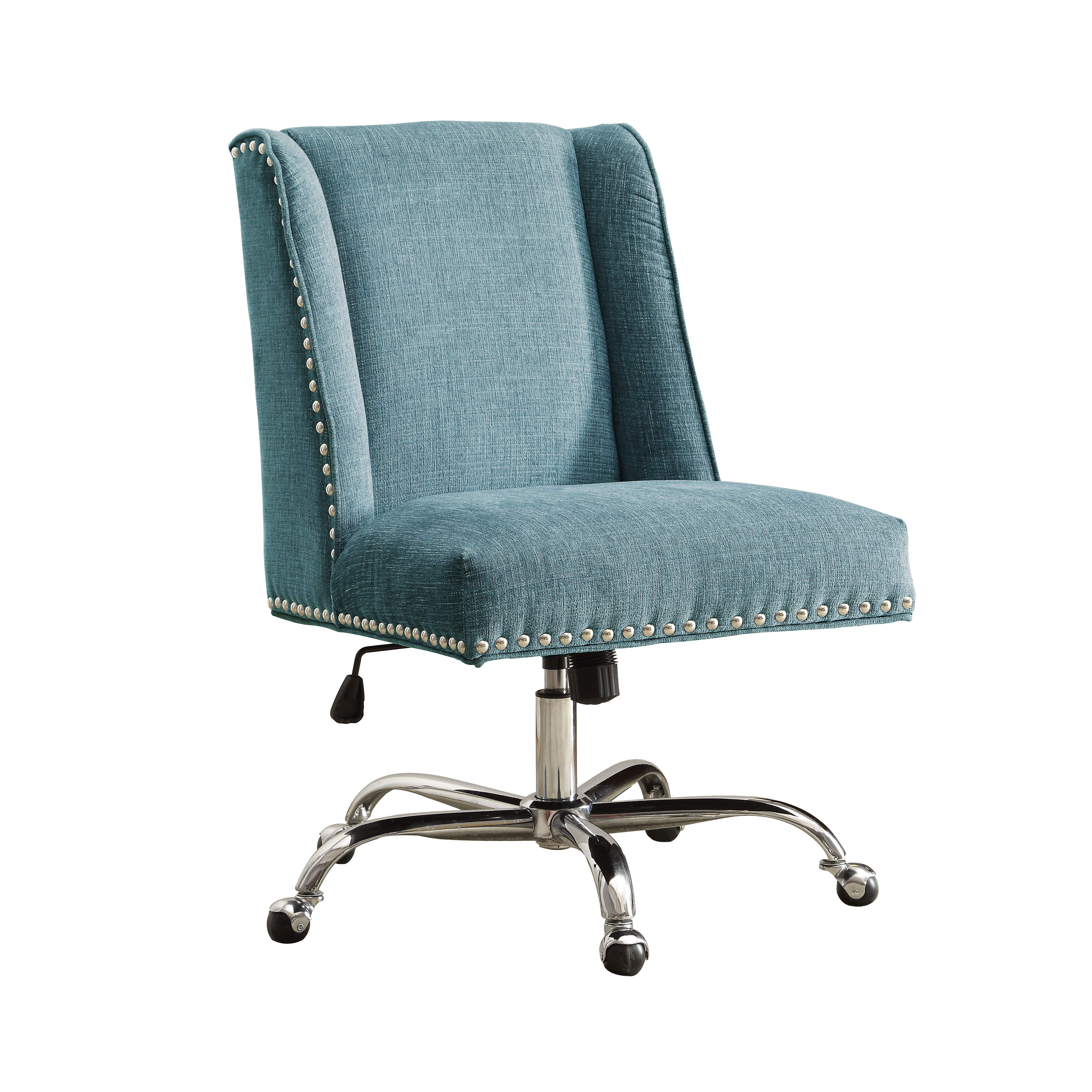 office chair upholstery fabric fitted covers for weddings linon draper aqua chrome base
