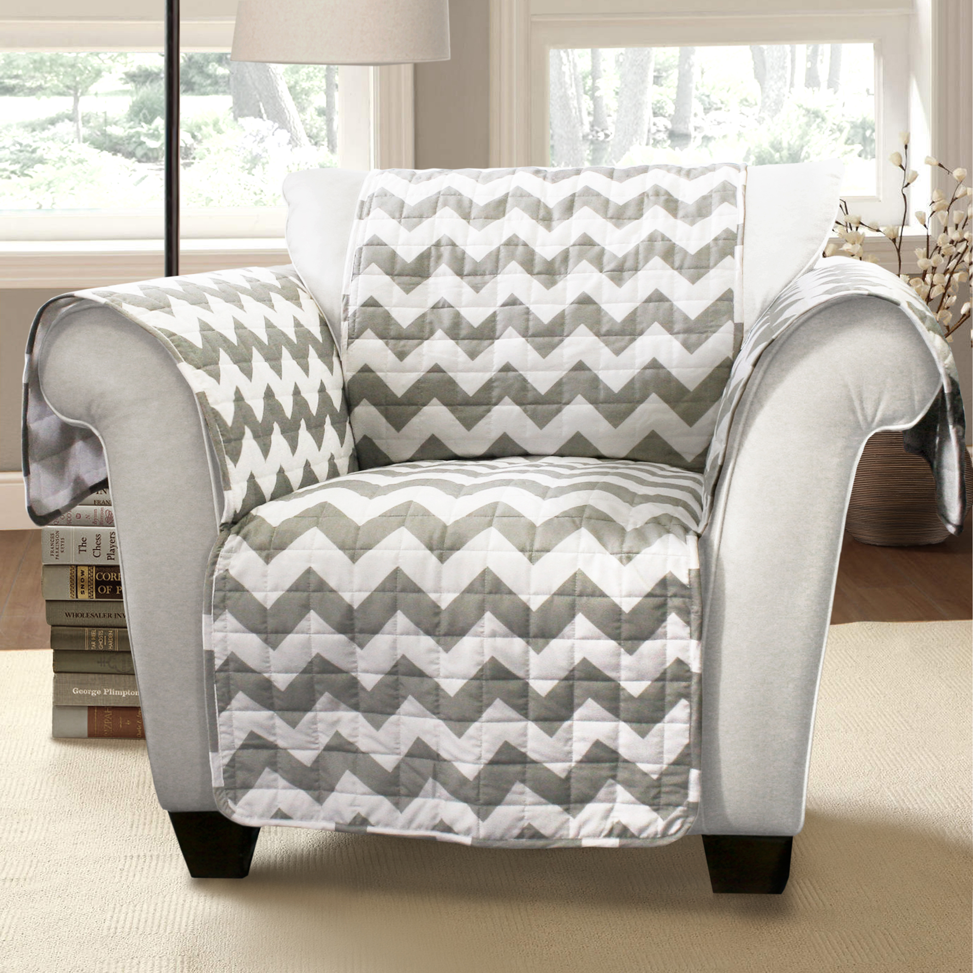 walmart armchair covers spiderman table and chair set forever new chevron furniture protectors gray white