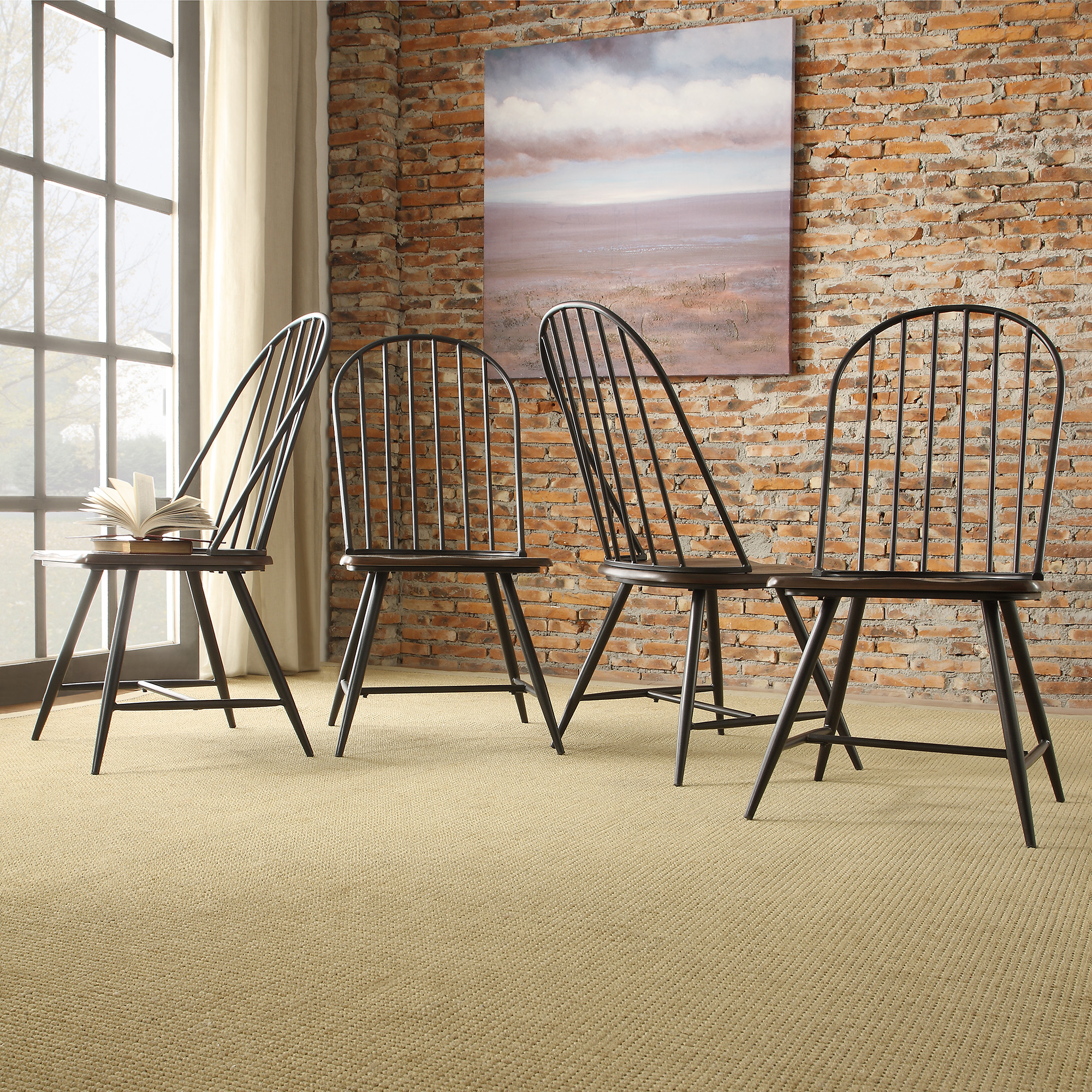 Wood And Metal Dining Chairs Oxford Creek Montrose Metal 43 Wood Windsor Chair In Black