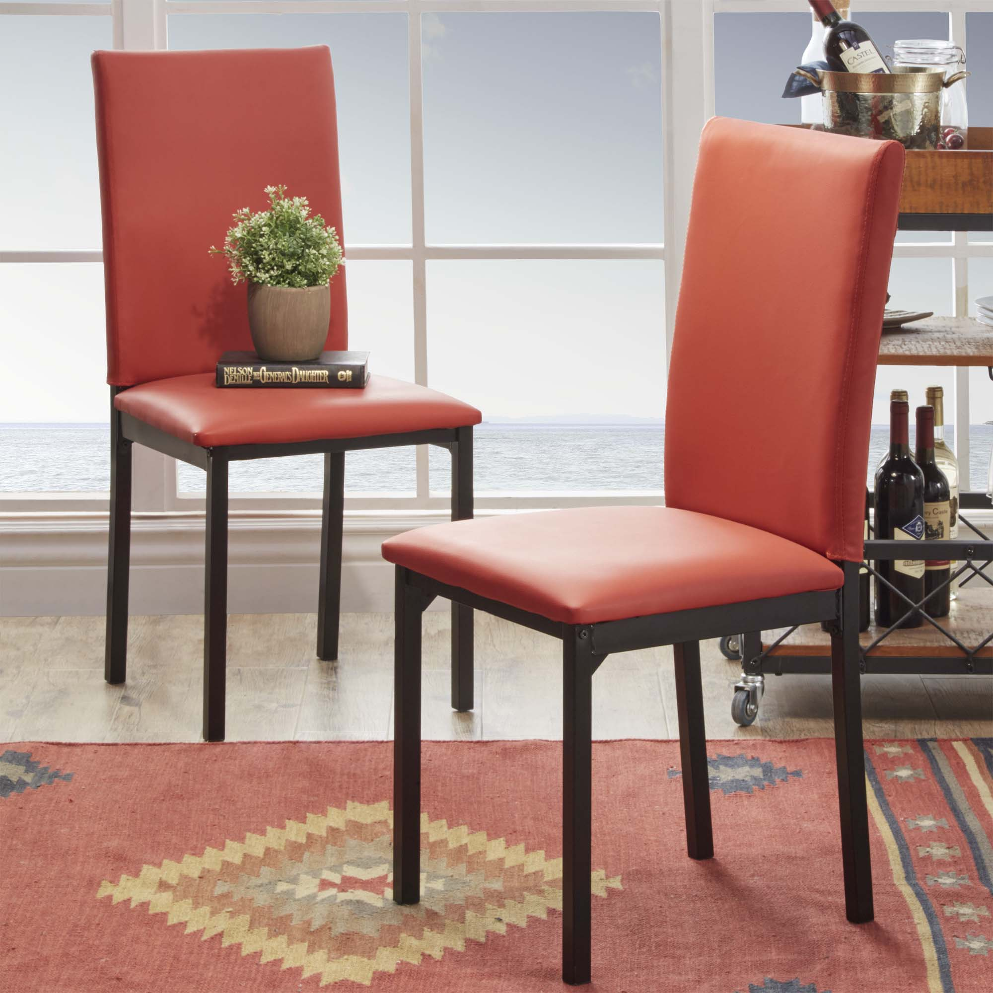Upholstered Kitchen Chairs Oxford Creek Mio Metal Upholstered Dining Chair In Red