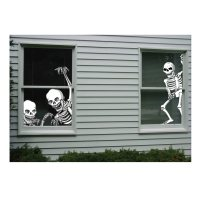 Totally Ghoul Halloween Skeleton Window Covers Decoration ...