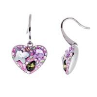 Multicolored Crystal Heart Drop Earrings