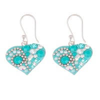 Enamel Turquoise Stone and Crystal Heart Drop Earrings