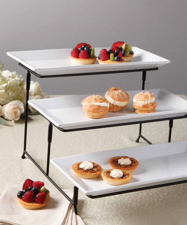 3-tier Plate Cake Metal Stand Tray Set Serving Platter Rectangular Food Party