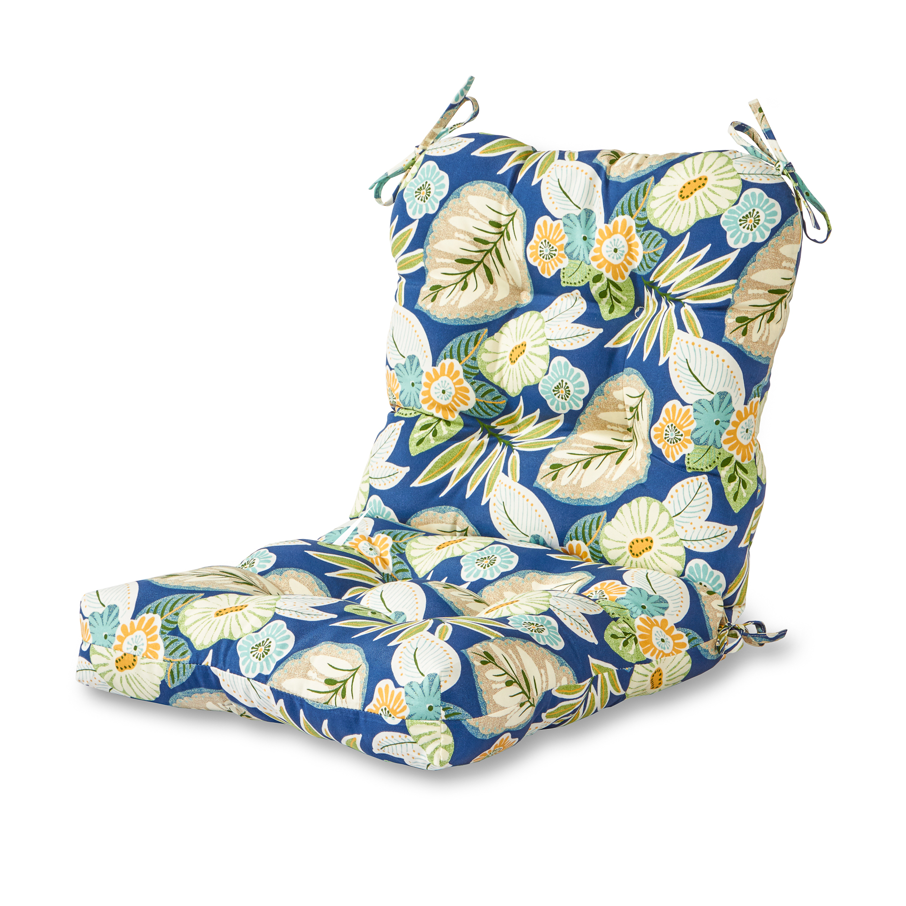 blue floral chair swivel office base greendale home fashions marlow outdoor seat back
