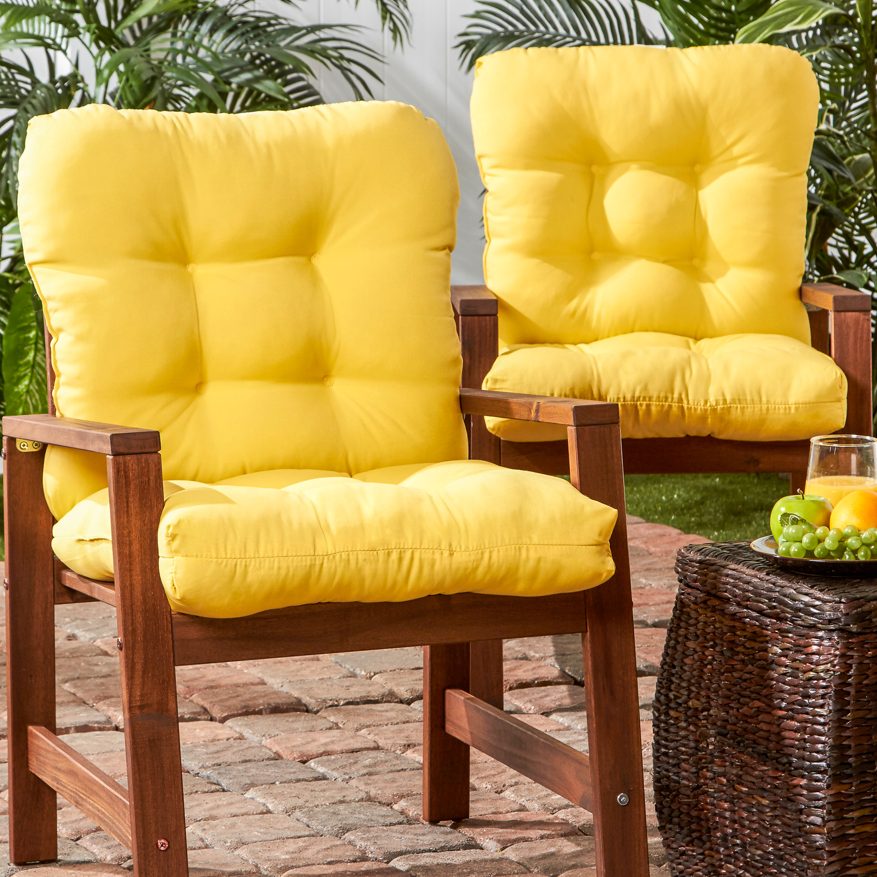 Greendale Home Fashions Set of Two Outdoor SeatBack Chair Cushions Sunbeam Yellow  Outdoor