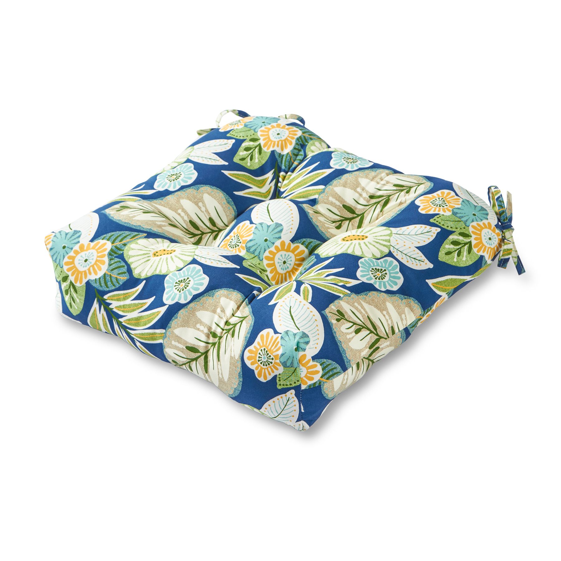 blue floral chair computer office max greendale home fashions 20 quot outdoor cushion