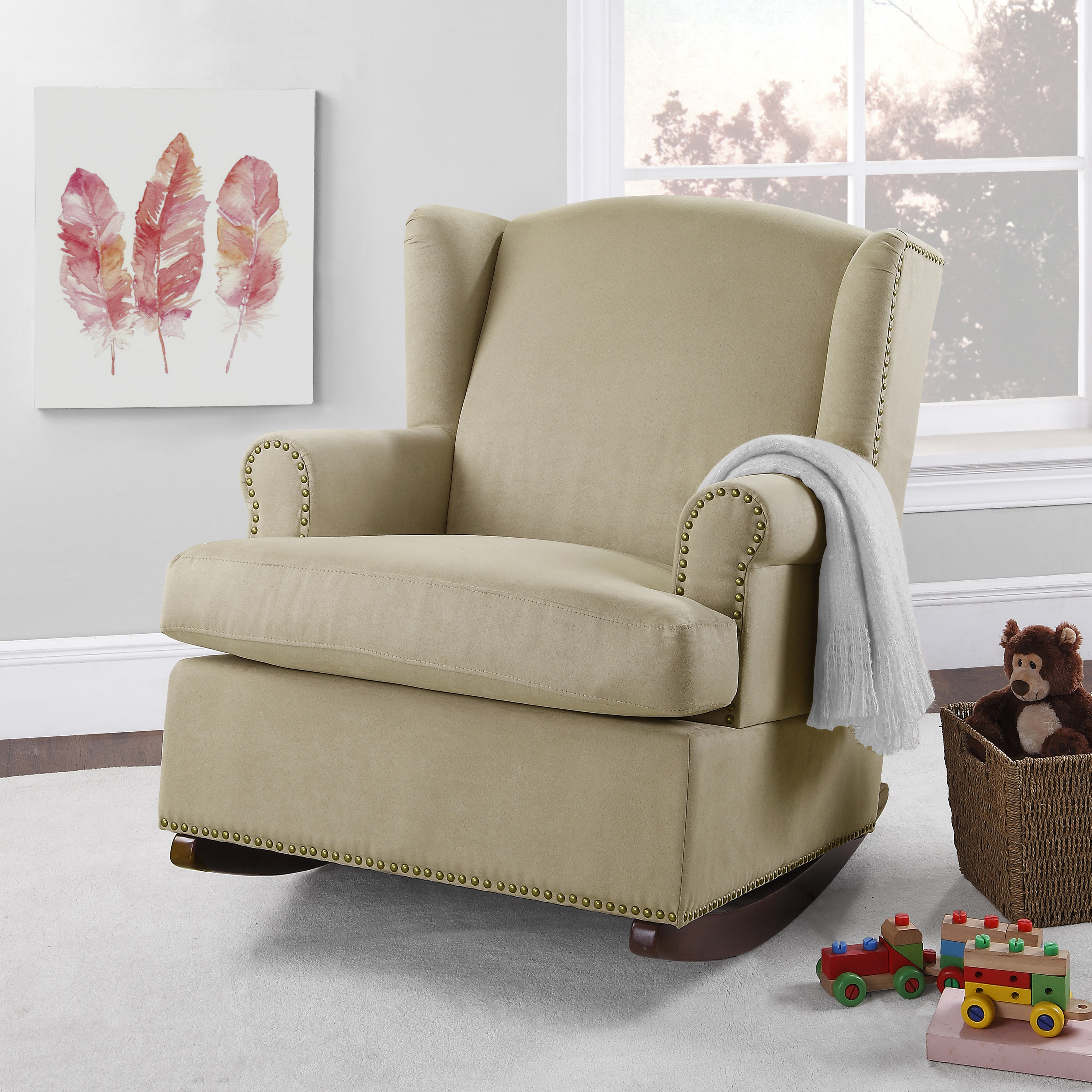 dorel rocking chair wooden stool philippines harlow wingback rocker with nailheads multiple colors