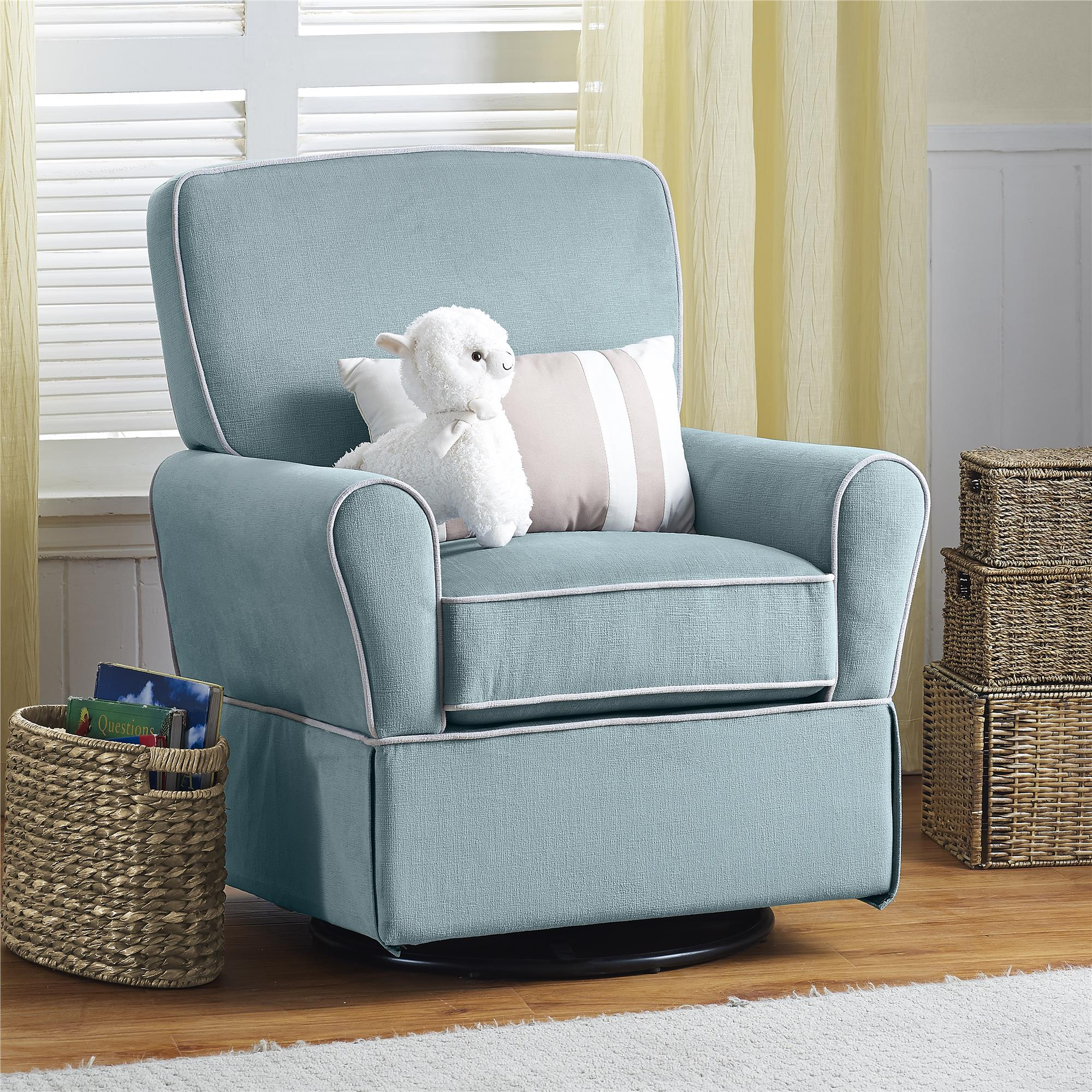 living room swivel glider chairs small layout with sectional dorel home furnishings milan aqua blue chair