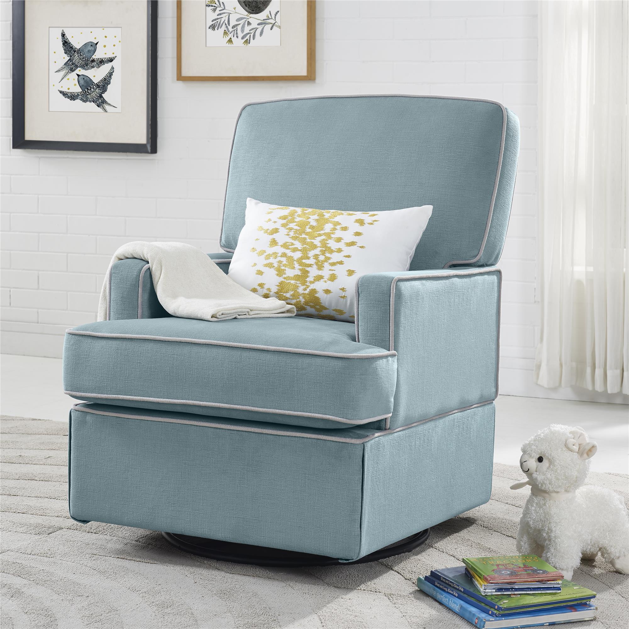 blue glider chair bamboo dining chairs australia dorel home furnishings lyon aqua swivel