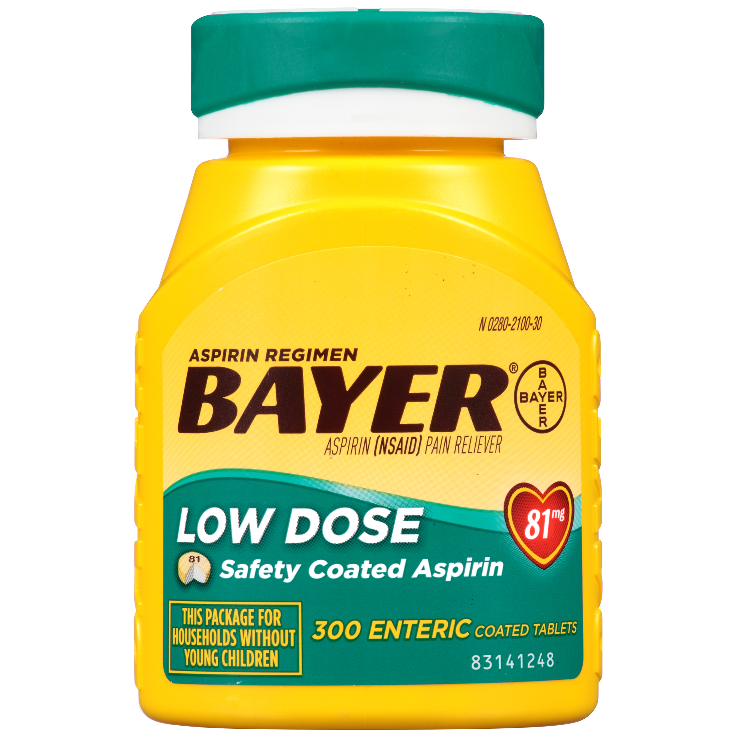 Aspirin Low Dose 81 mg Enteric Coated Tablets 300 tablets