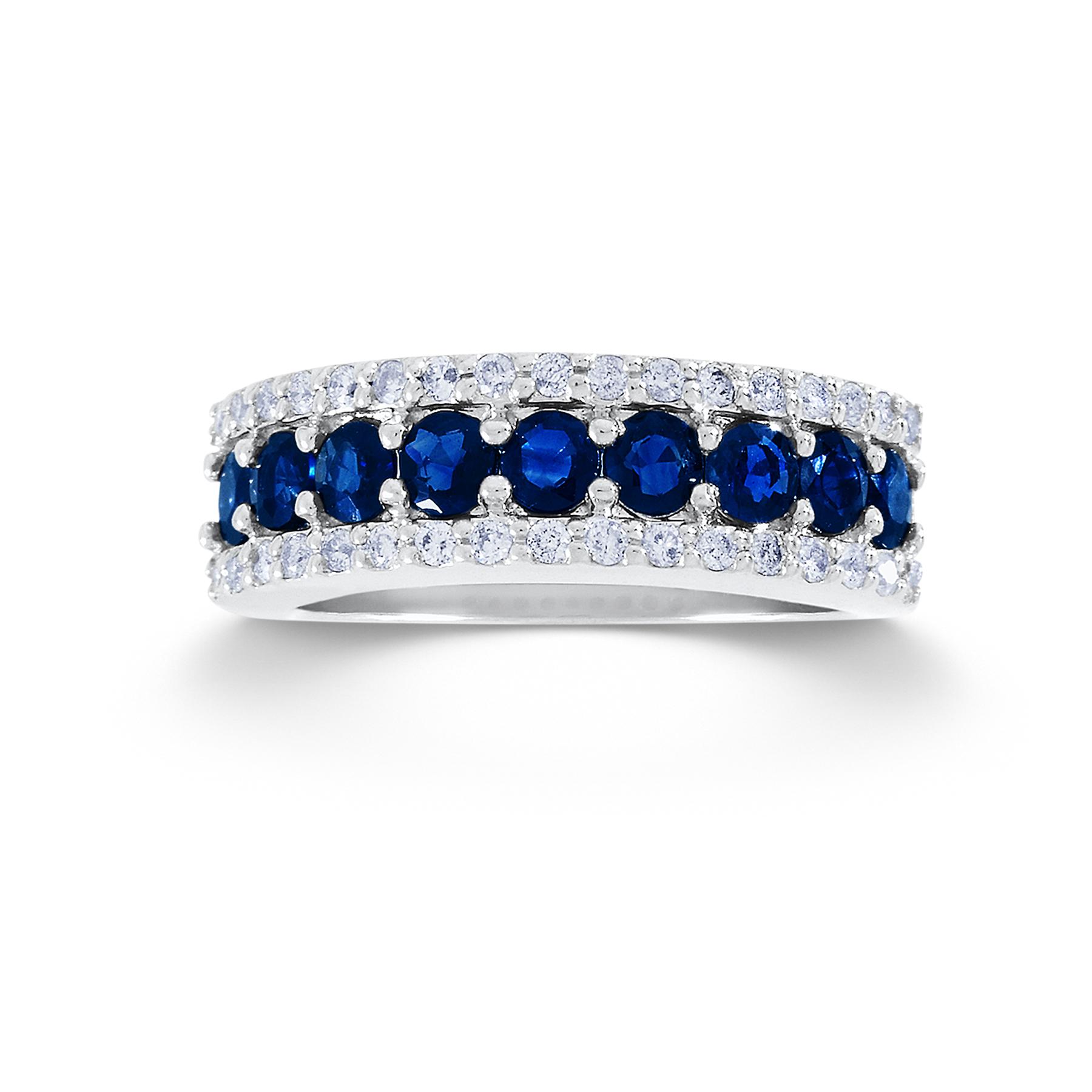 13 Cttw Round 10k White Gold Diamond Amp Sapphire Wedding