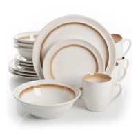 Gibson Lawson 16 Piece Dinnerware Set - brown
