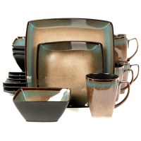 Gibson Tequesta 16 Piece Square Dinnerware Set
