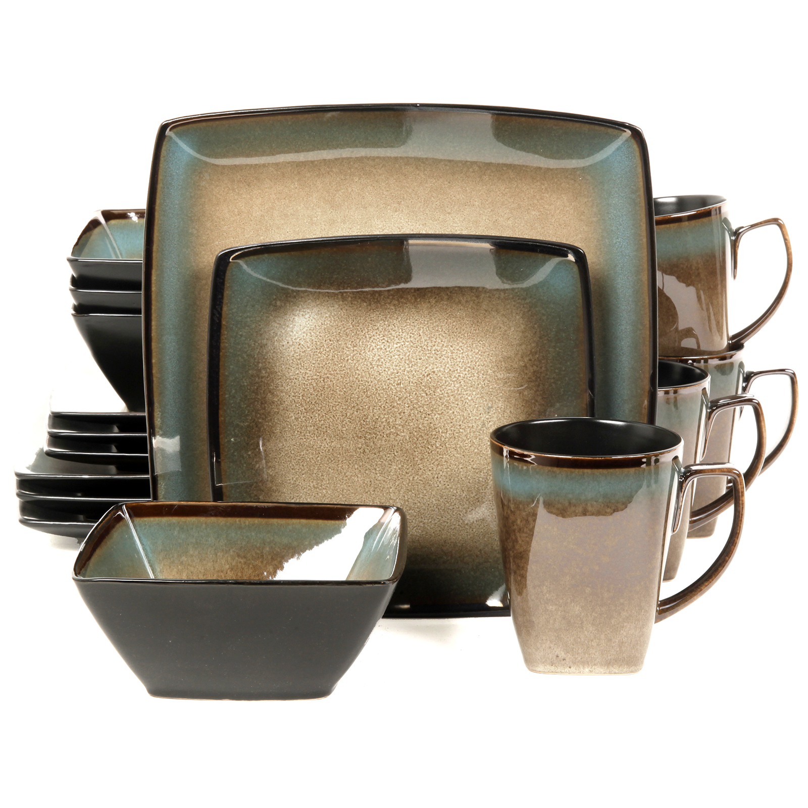 Gibson Tequesta 16 Piece Square Dinnerware Set- Taupe