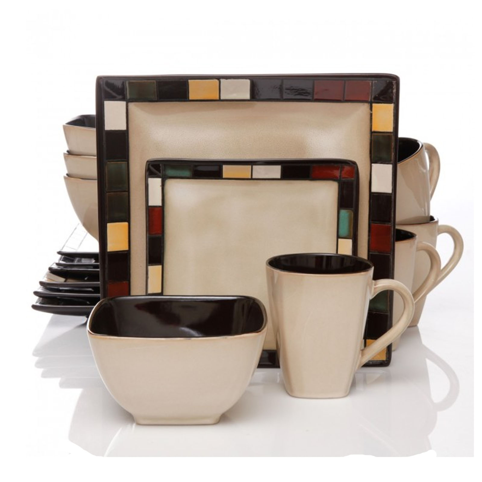 Gibson Mosaic Tile Square 16-piece Dinnerware Set