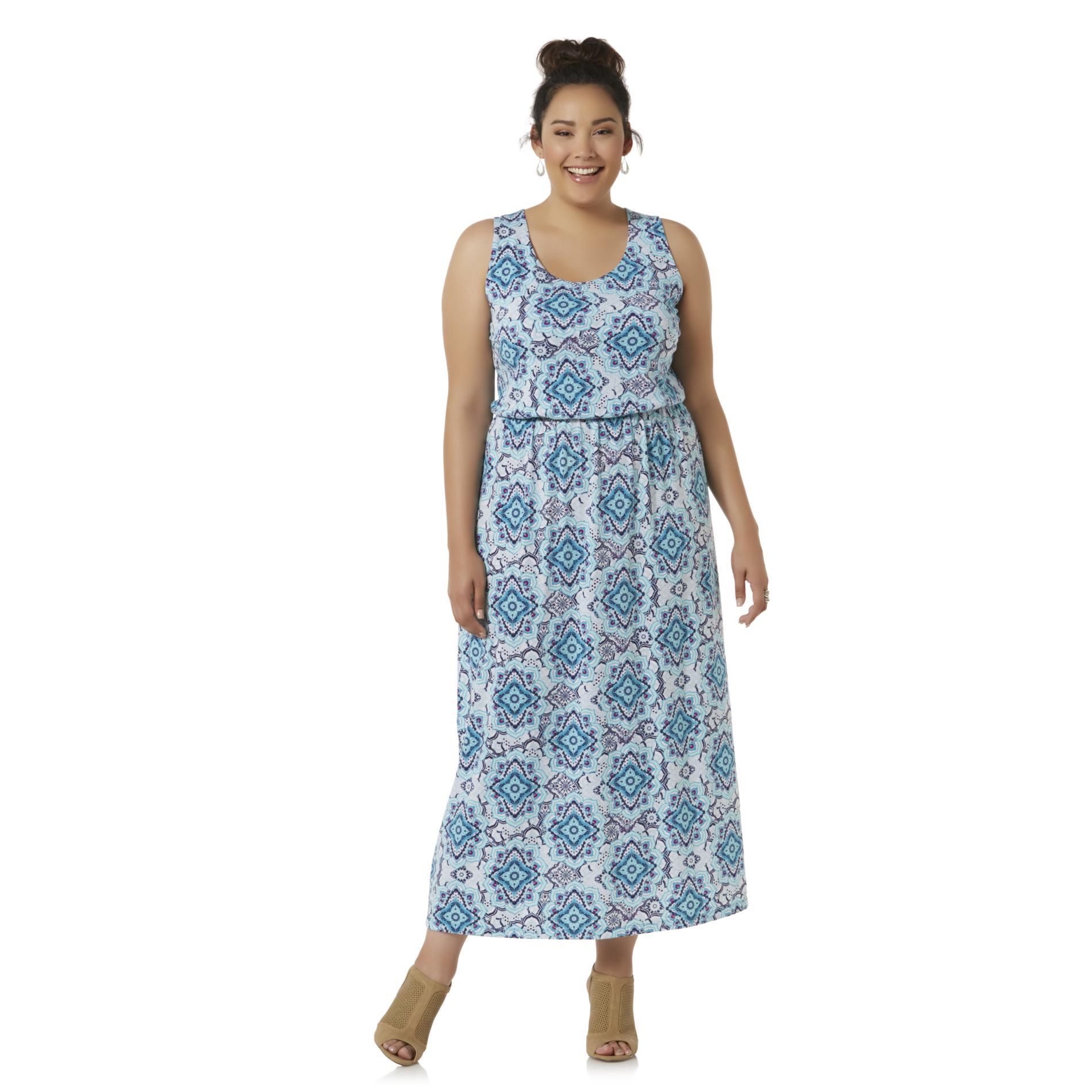 Simply Emma Women39s Plus Sleeveless Maxi Dress Scarf Print