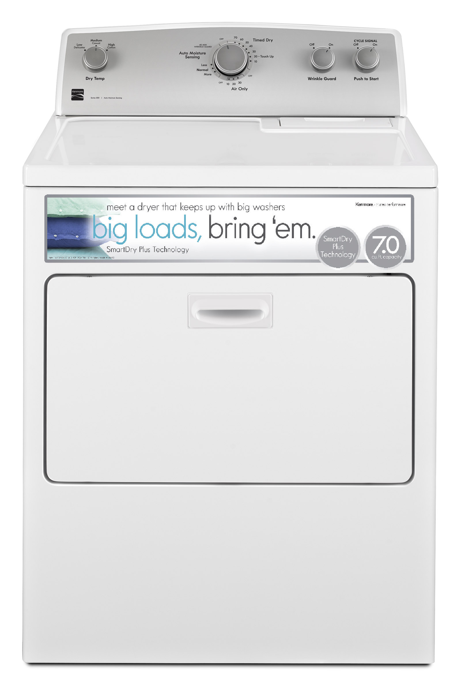 hight resolution of kenmore 65132 7 0 cu ft electric dryer w smartdry plus technology white