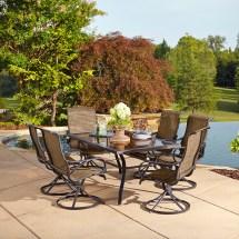 Grand Resort Oak Hill Rectangle 7 Piece Swivel Dining Set