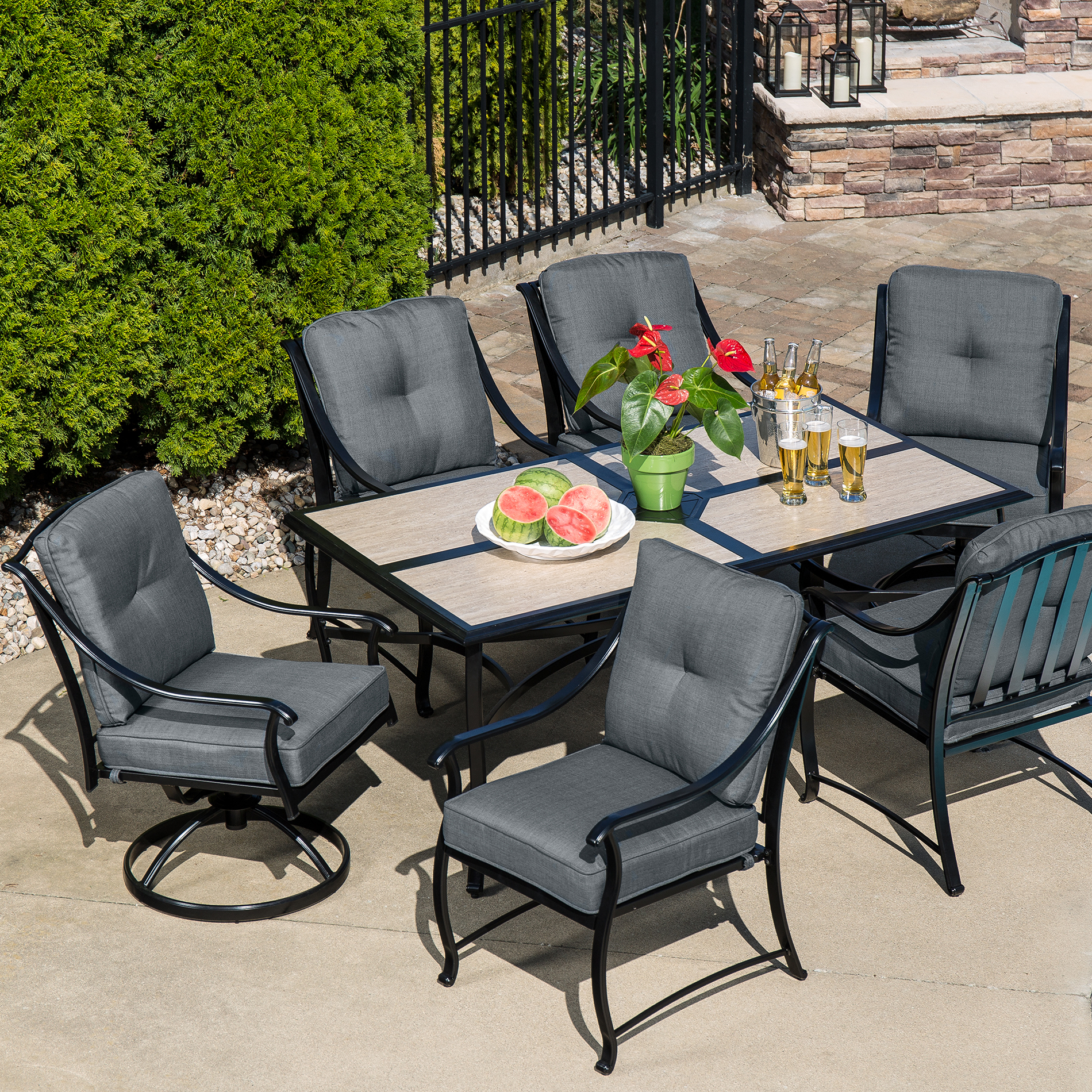 La-boy Outdoor Emerson 7 Pc. Dining Set- Graphite