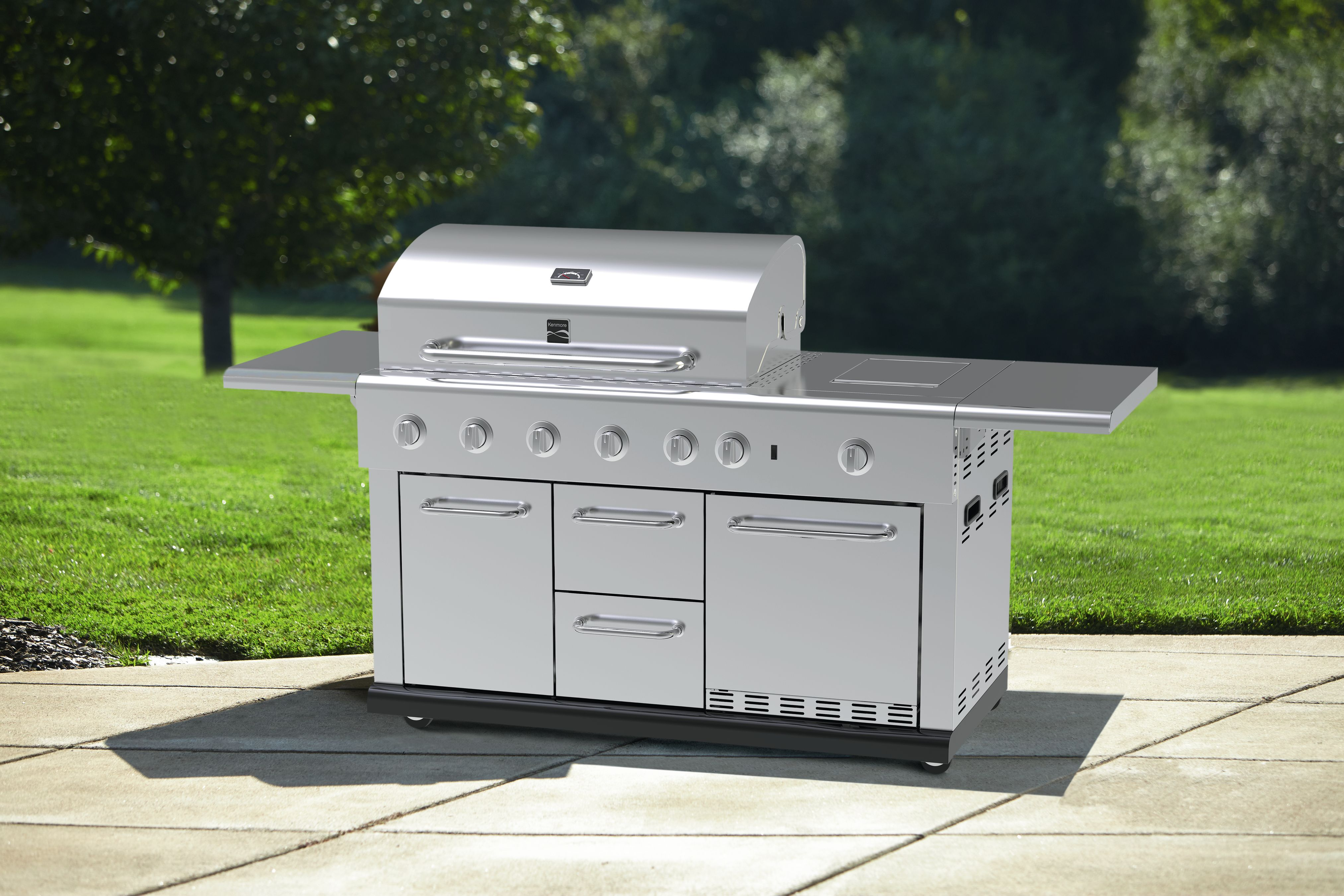 Kenmore 5Burner Island Gas Grill with Refrigerator