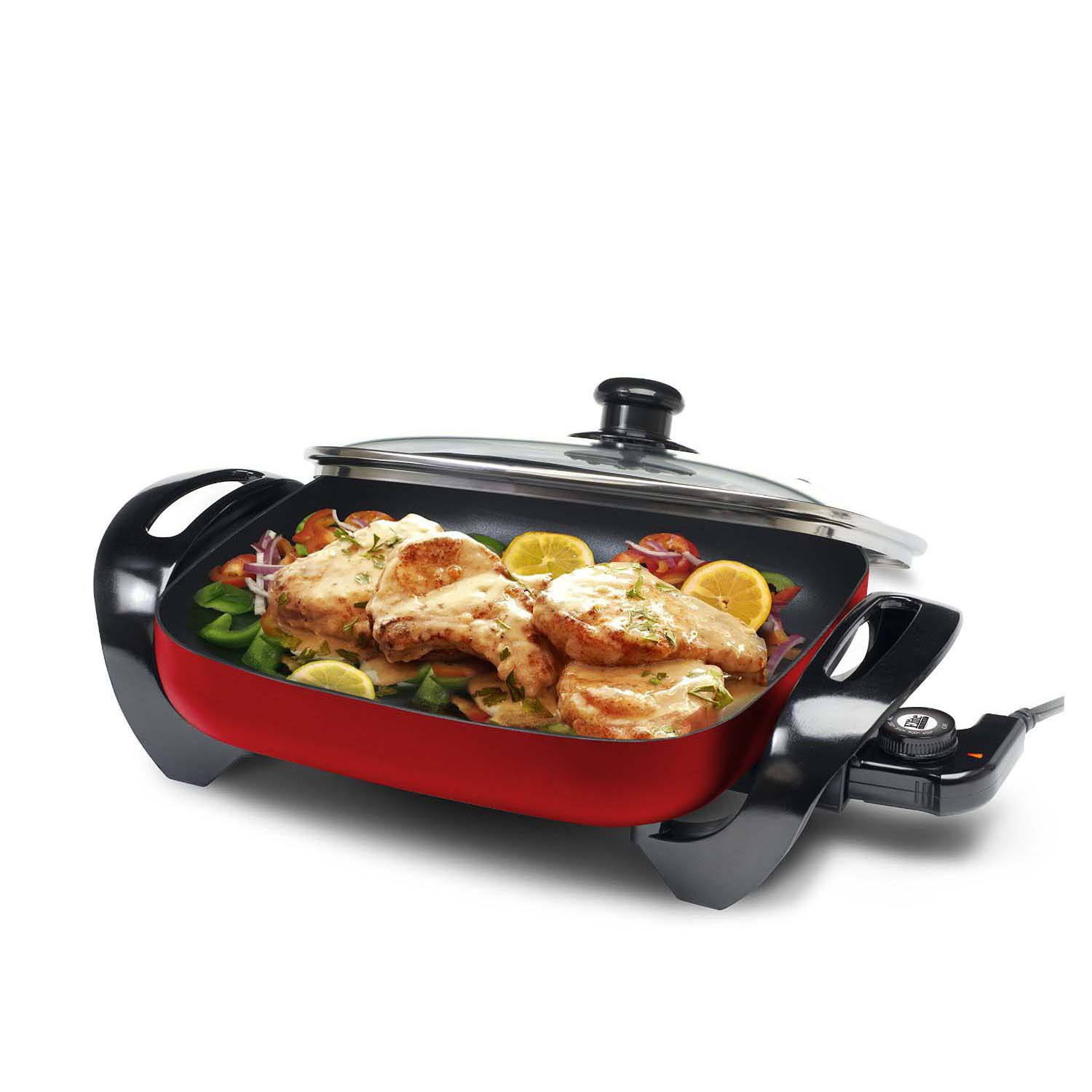 Red Electric Skillet with Glass Lid
