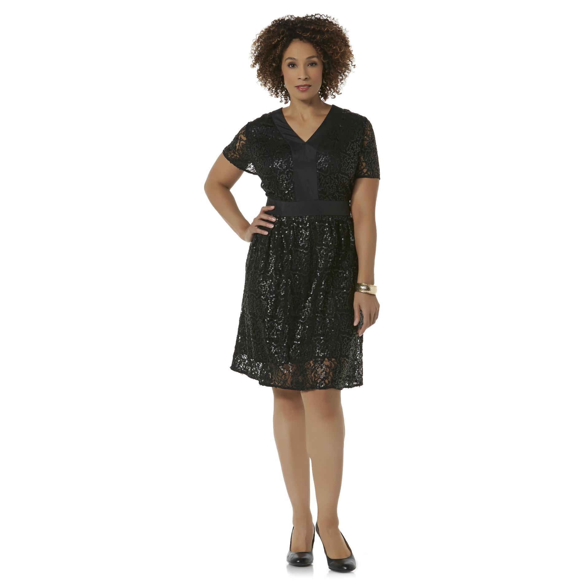 Women39s Plus Sequin Lace Dress Shop Great Dresses at Sears