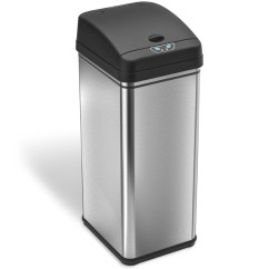 Stainless Steel Kitchen Trash Can Seat Cushions For Chairs Cans Garbage Sears Itouchless Deodorizer 13 Gallon Automatic Touchless With Carbon Filter Technology