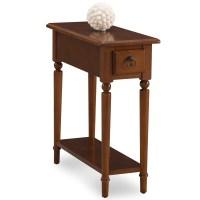 Leick Pecan Coastal Narrow Chairside Table w/Shelf