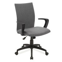Leick Grey Linen Apostrophe Office Chair with Black Caster ...