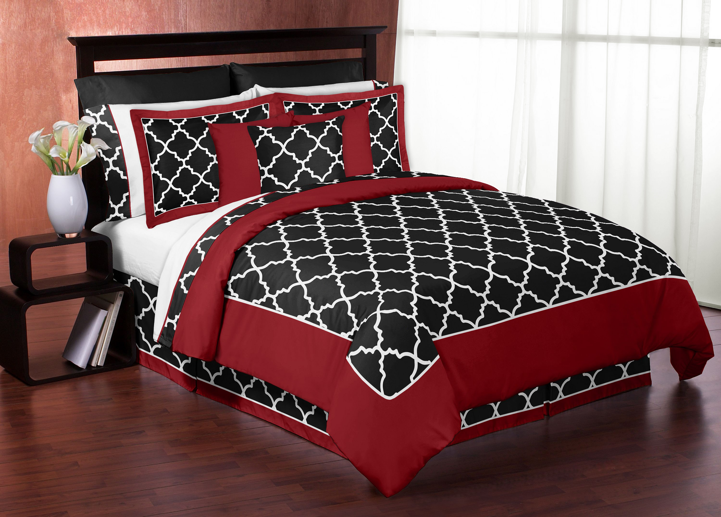 Sweet Jojo Designs Red And Black Trellis Collection 3pc