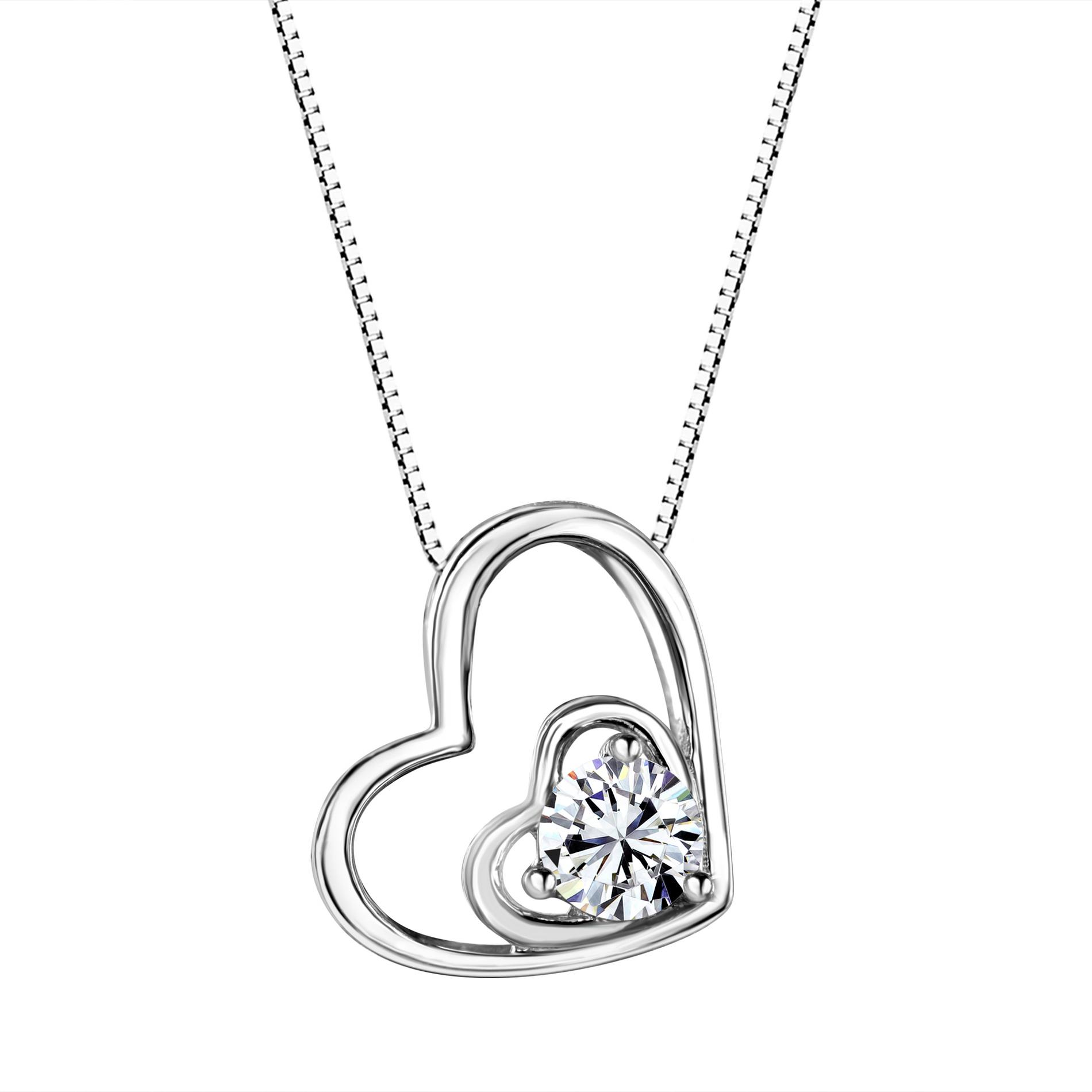 Sterling Silver Heart Shaped Pendant Made with Swarovski