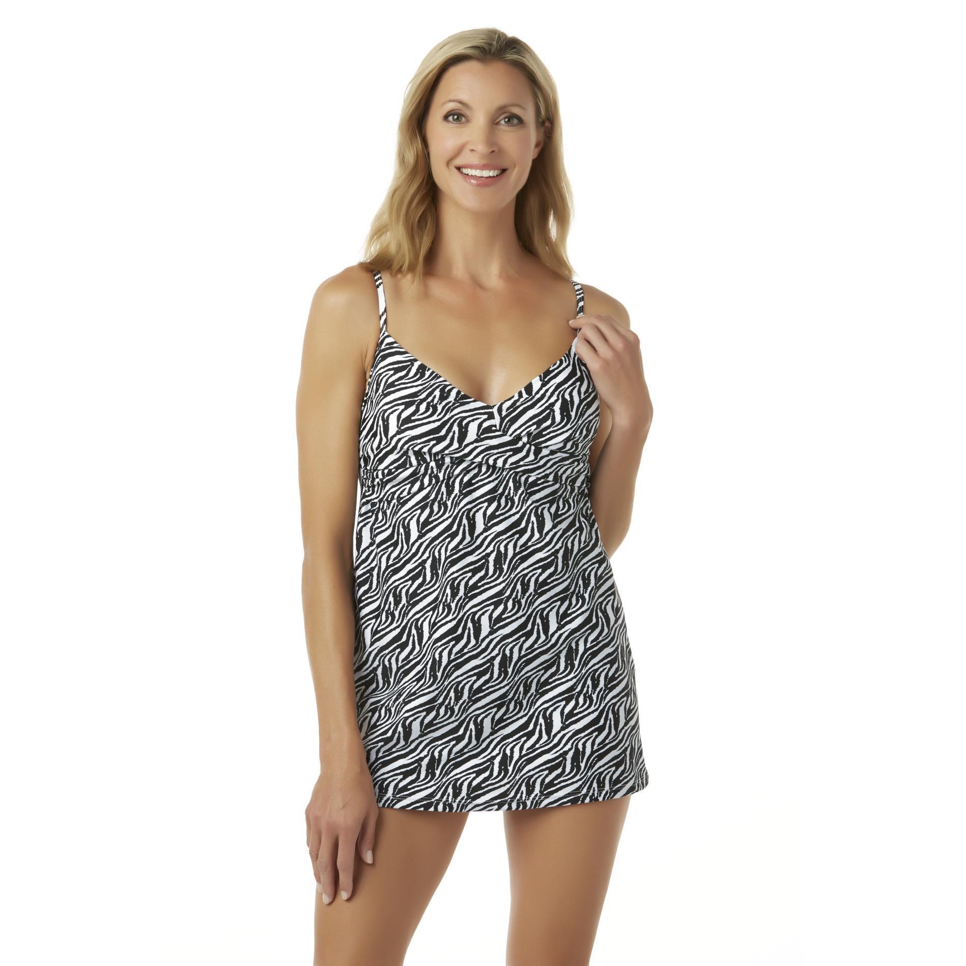 Jaclyn Smith Women39s Swim Dress Zebra