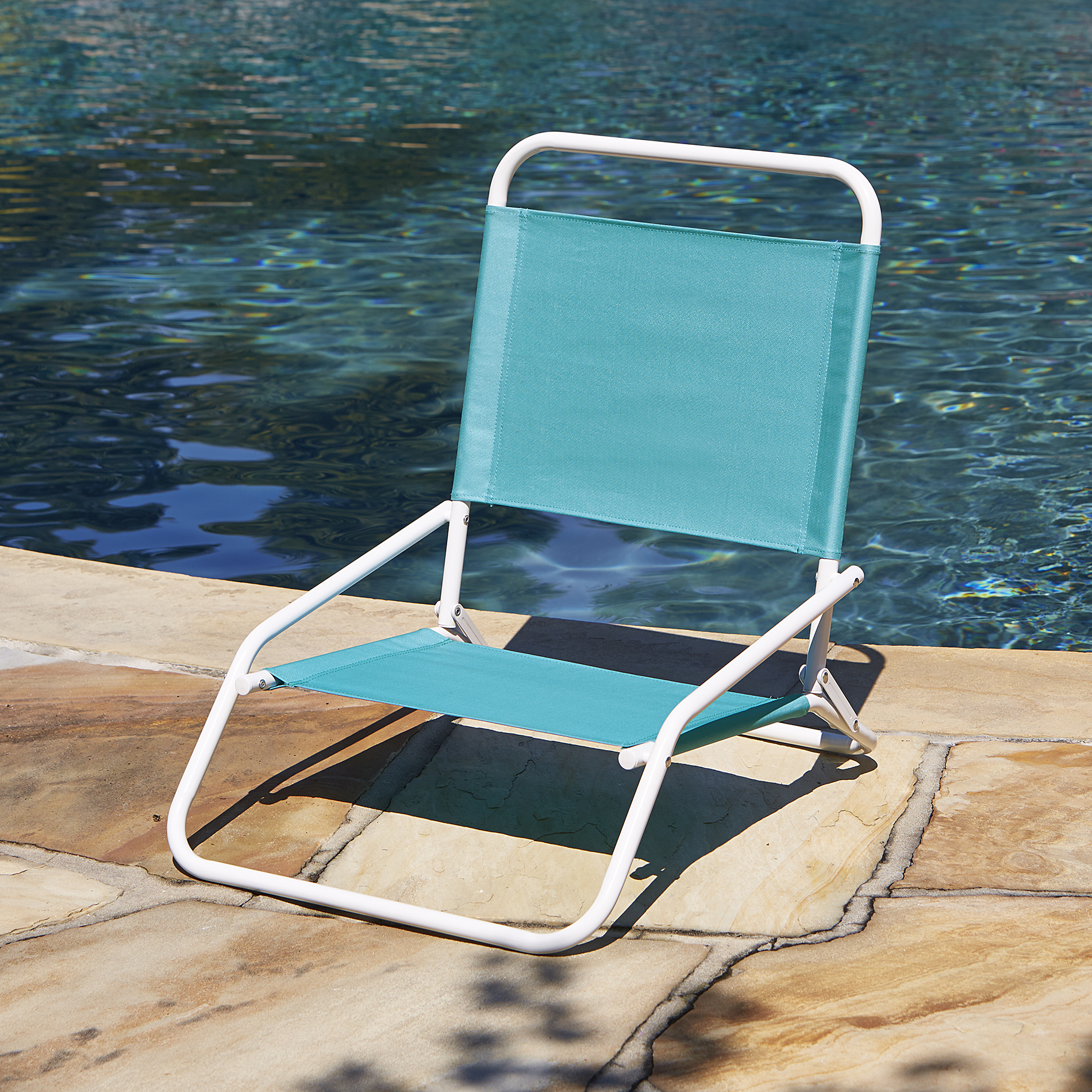 Low Folding Beach Chair Low Back Beach Chair Blue Outdoor Living Patio Furniture