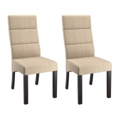 Cream Upholstered Dining Chairs Hanging Chair Durban Corliving Antonio Tall Back Set