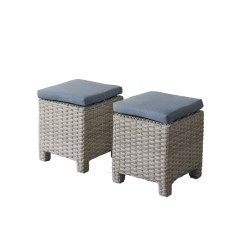 Resin Wicker Chair With Ottoman Folding Wooden Corliving Brisbane Weather Resistant Ottomans