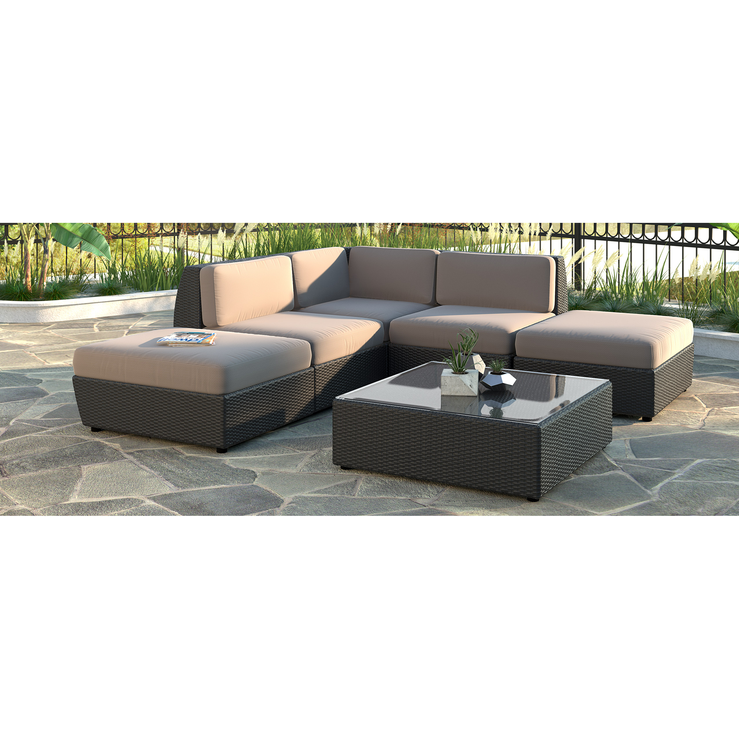 Corliving Seattle Curved 6 Pc Chaise Lounge Sectional