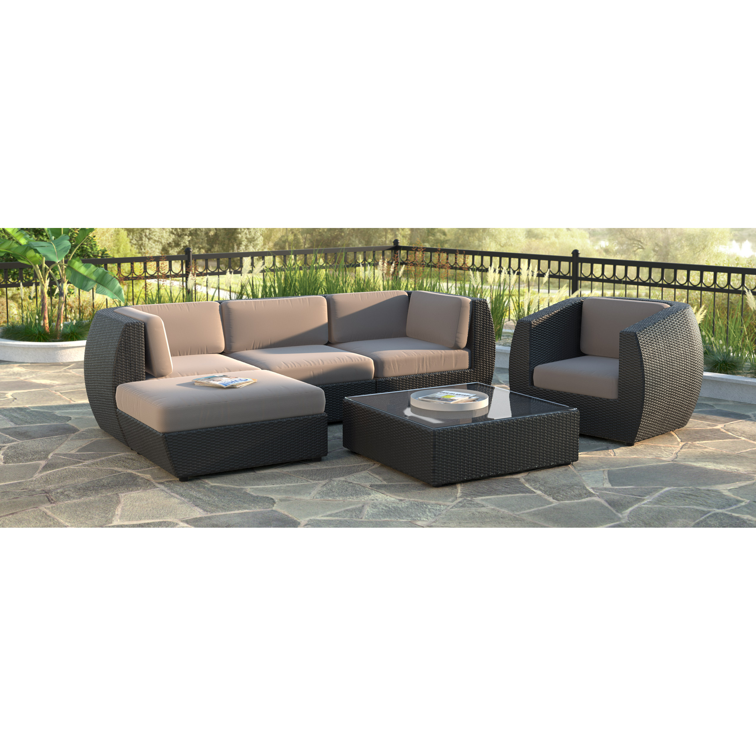 sofa and chaise lounge set bedroom sofas corliving seattle curved 6 pc with