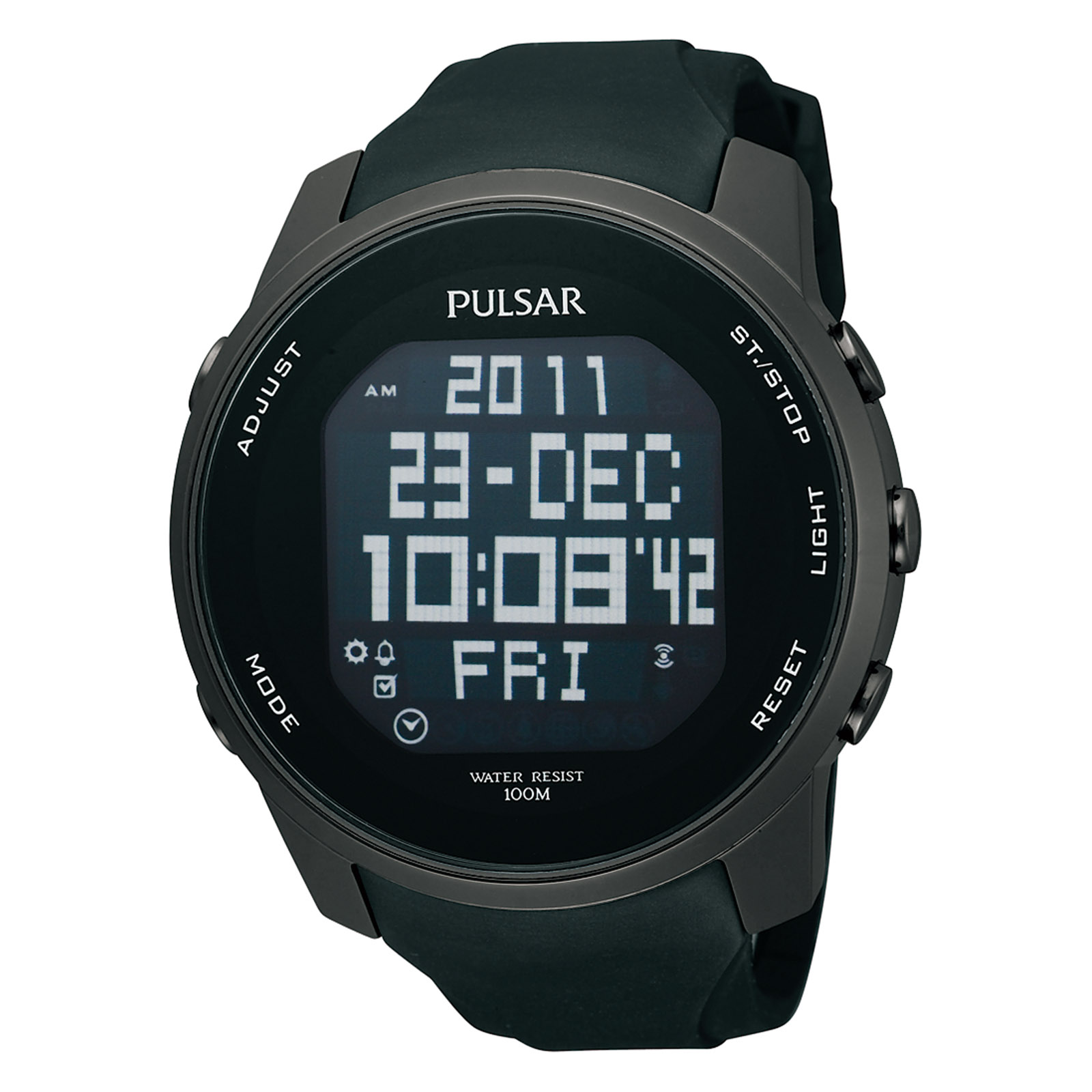 Pulsar Men' World Time Digital Black Urethane Strap And Dial Watch