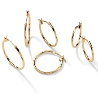 PalmBeach Jewelry 3 Pair Hoop Earrings Set in 10k Gold