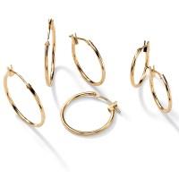 PalmBeach Jewelry 3 Pair Hoop Earrings Set in 10k Gold