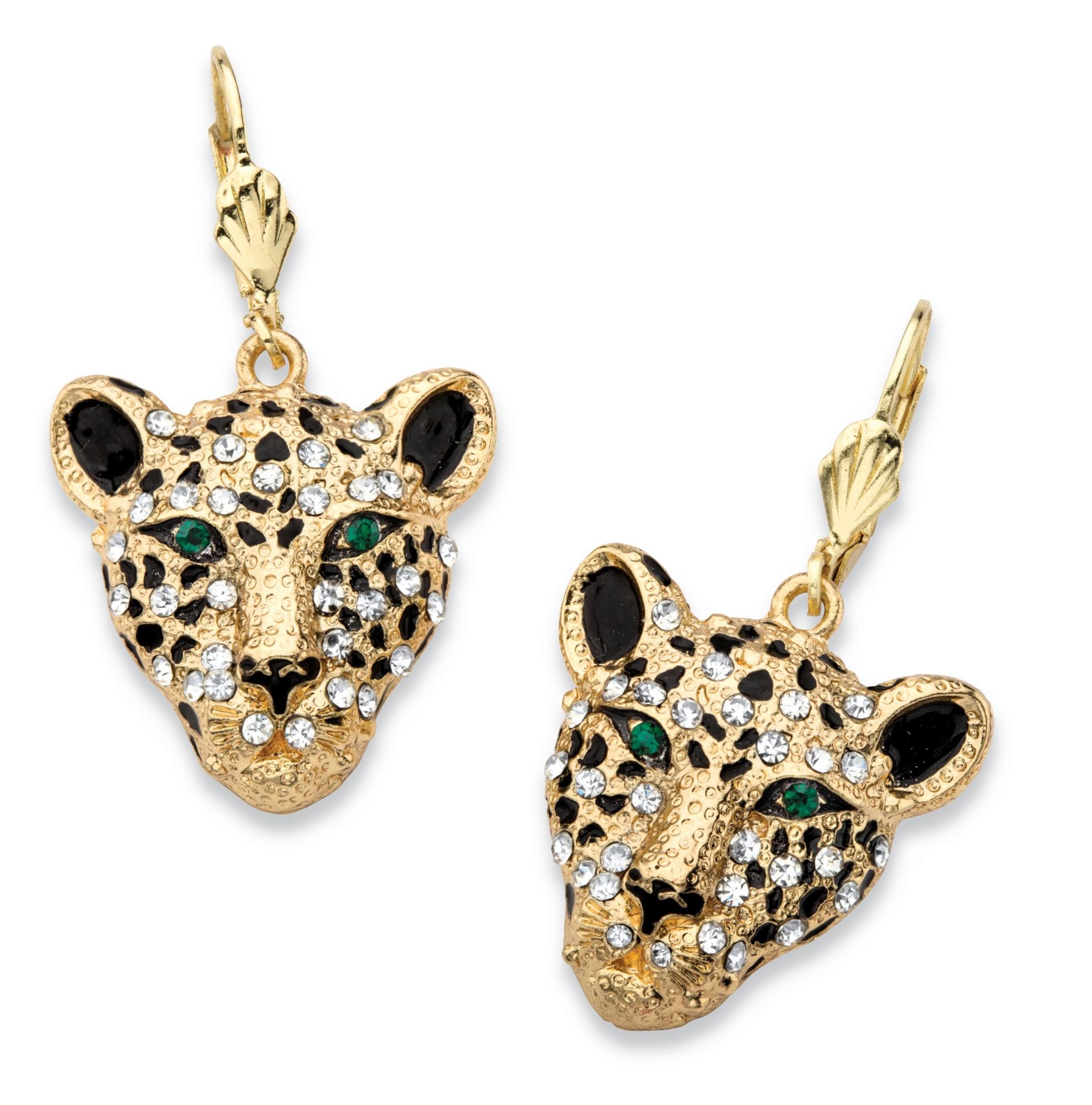 PalmBeach Jewelry White Crystal Leopard Face Drop Earrings