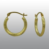 14k Diamond Cut Hoop Earrings