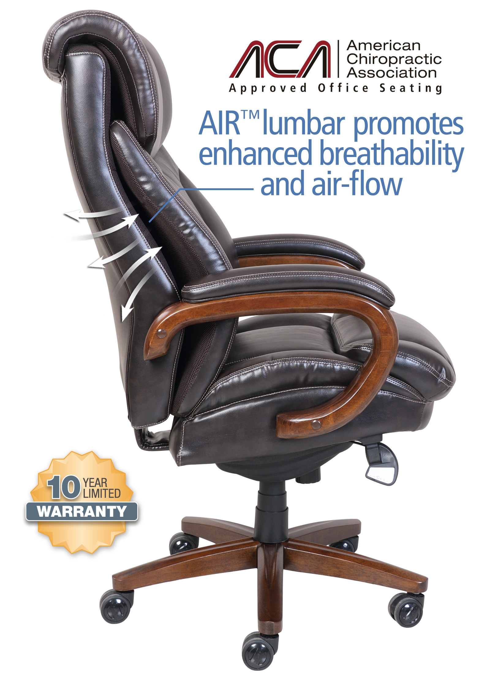 la z boy trafford big and tall executive office chair vino contemporary rocking chairs la-z-boy & comfort core air technology chair- brown
