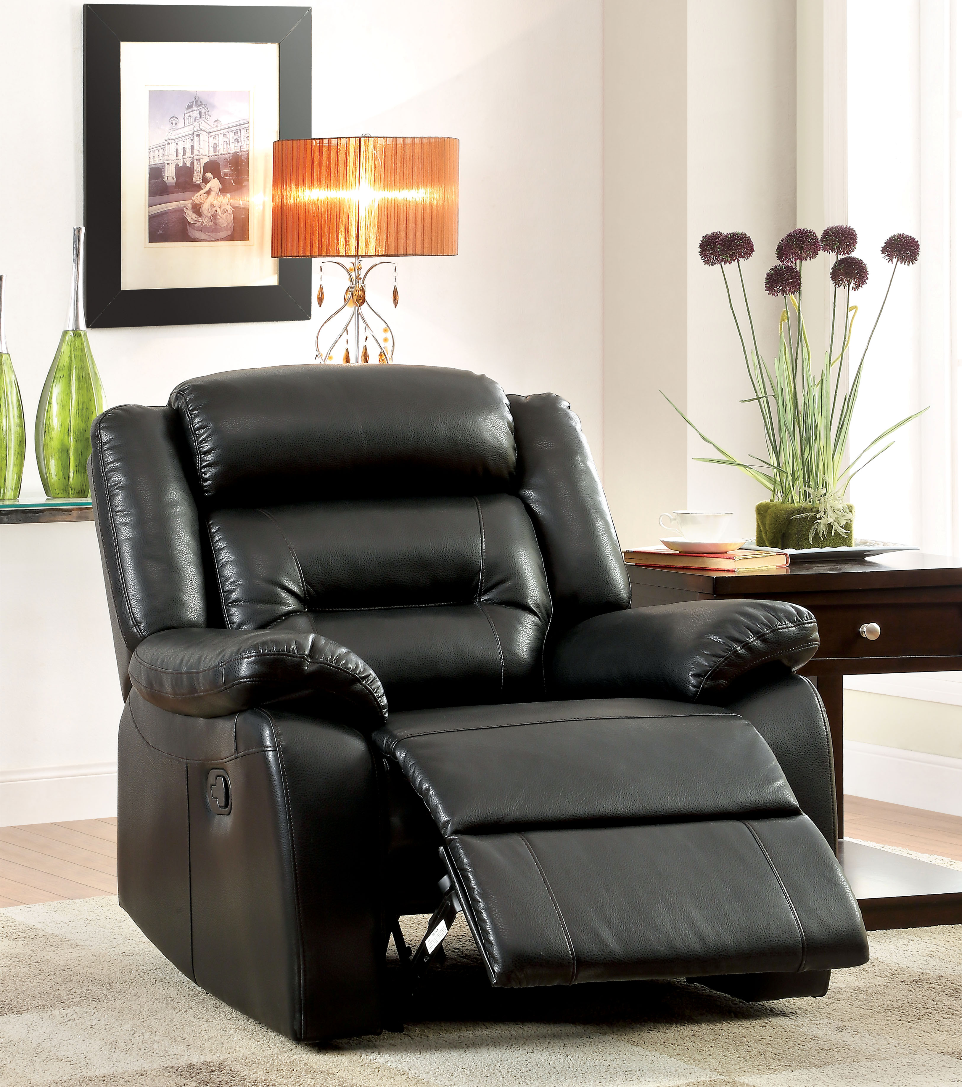 black bonded leather chair wooden church chairs with arms furniture of america leston recliner