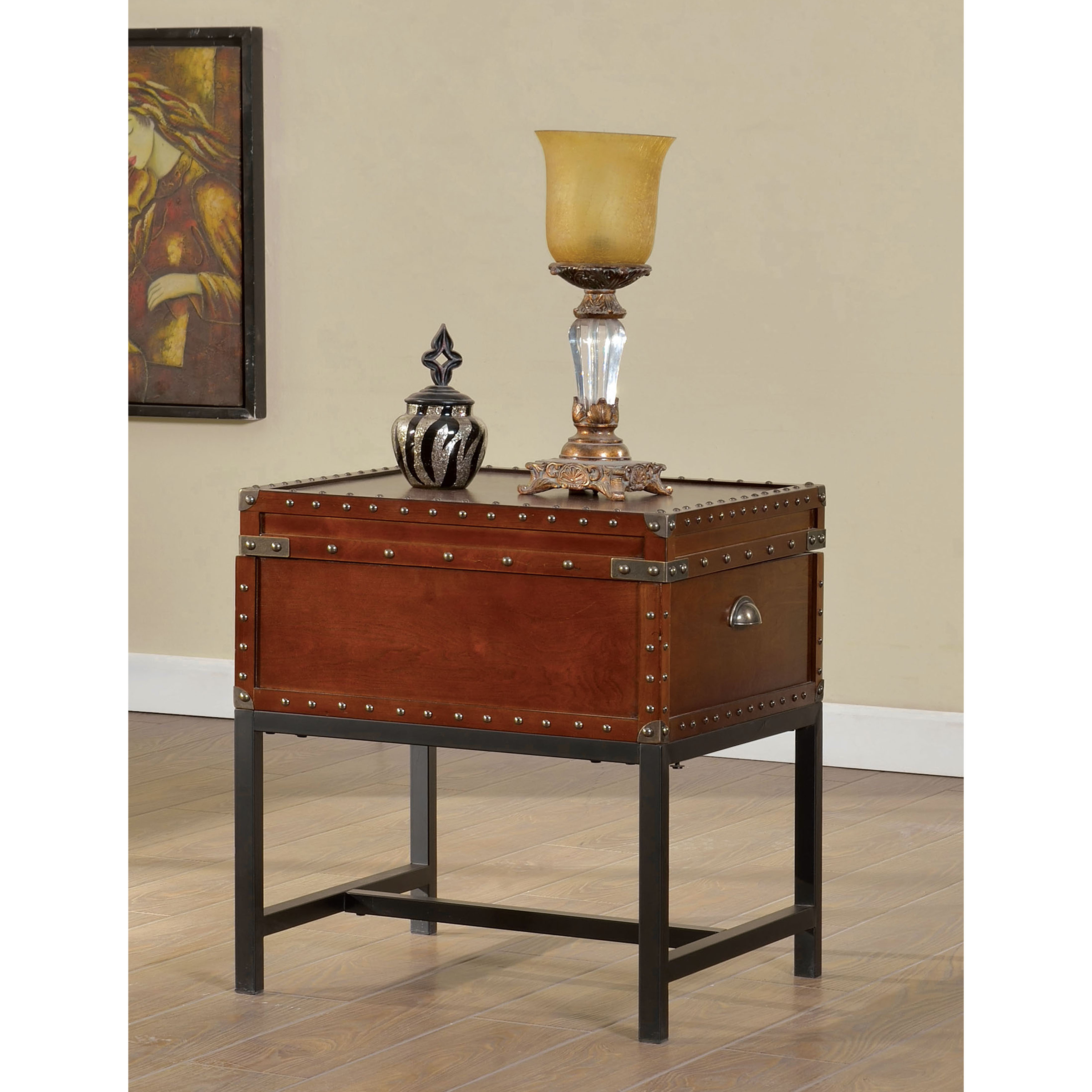 Furniture of America Cherry Reichel Trunk Style End Table