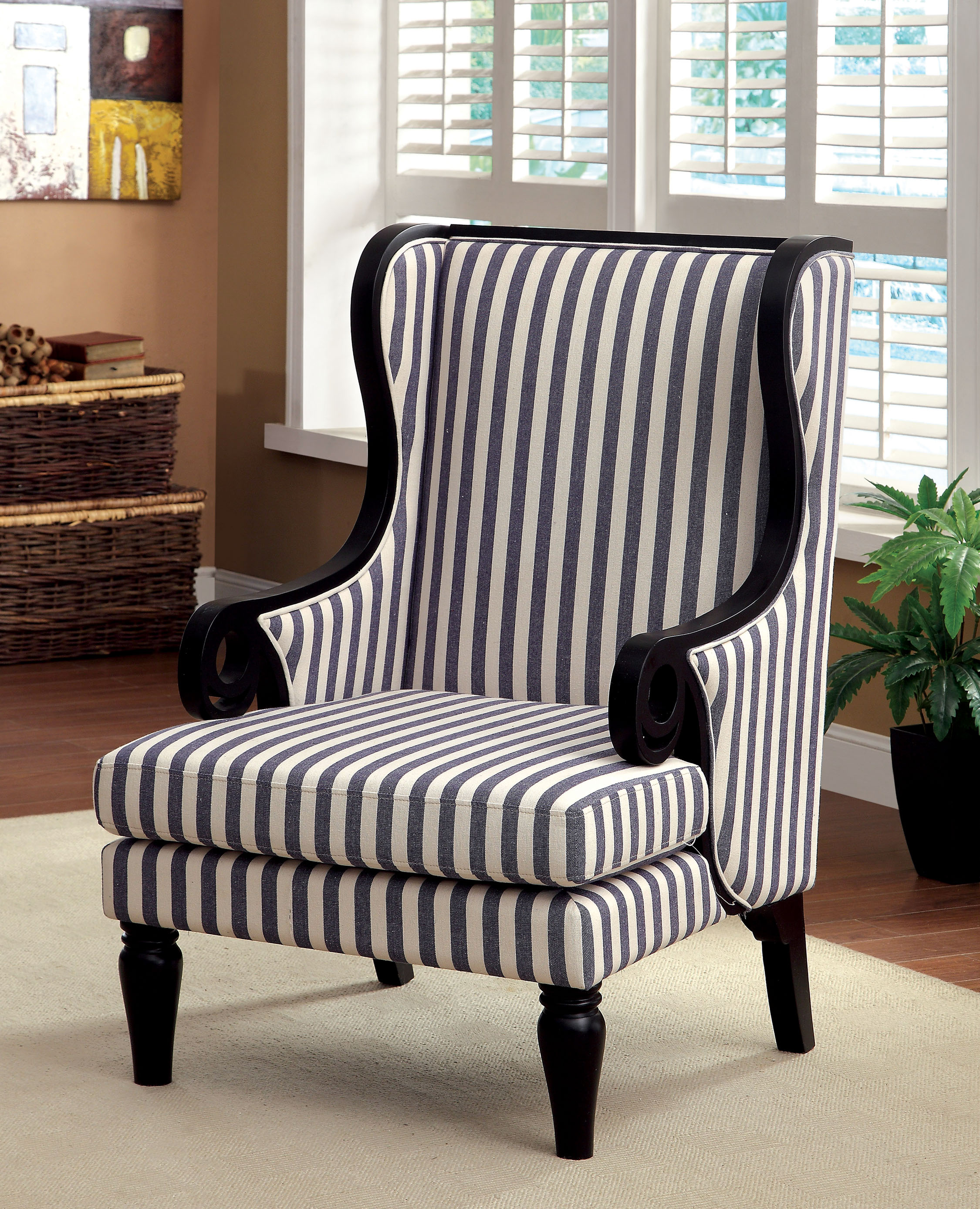 Blue And White Striped Chair Furniture Of America Striped Stellas Wingback Accent Chair