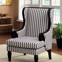 Accent Wingback Chairs Round Table And Set Uk Furniture Of America Striped Stellas Chair