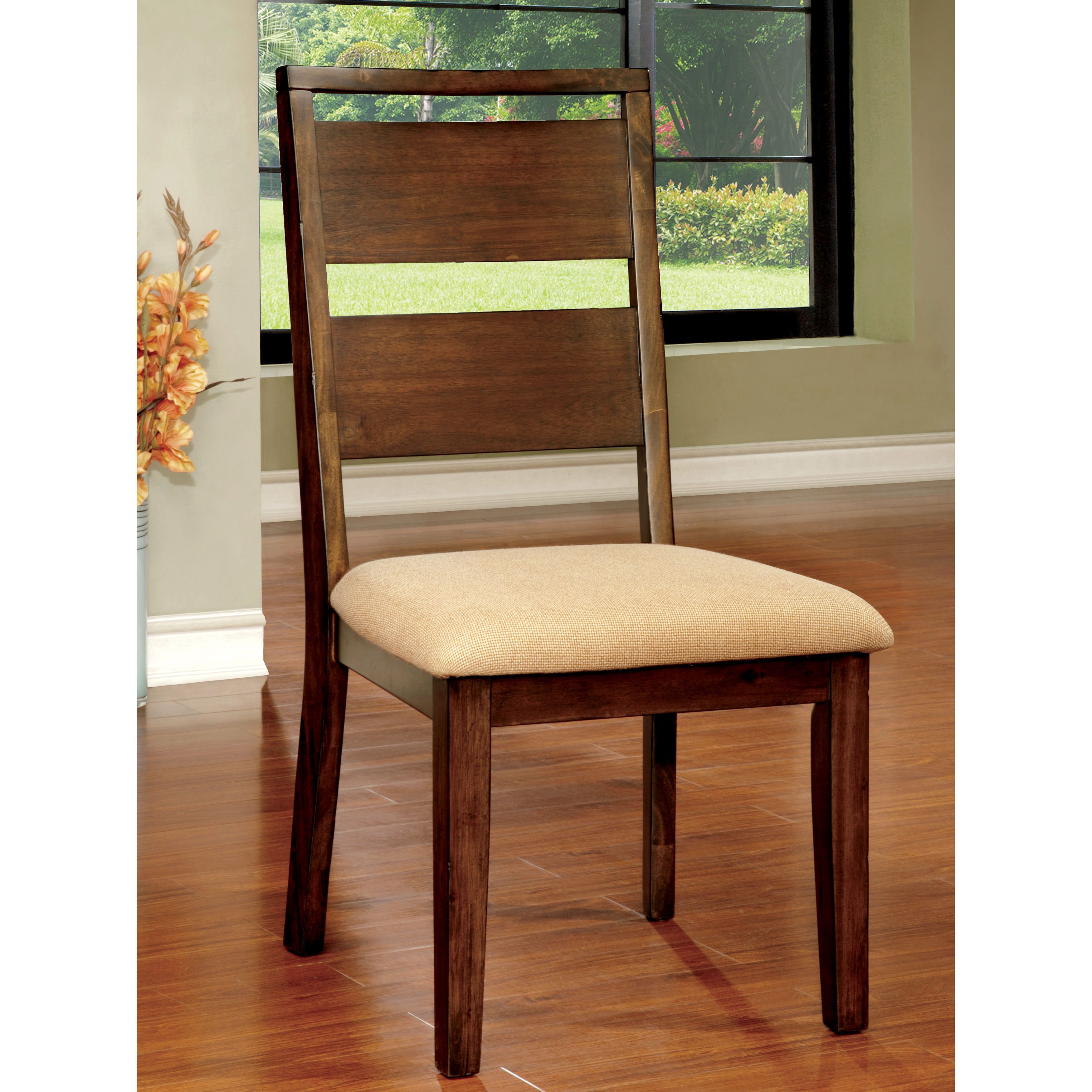 oak kitchen chairs desk chair home depot furniture of america dark elena dining set 2